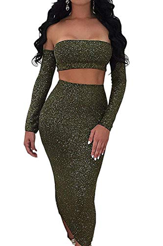 Sunfury Sequin 2 Piece Outfits For Women Clubwear Off Shoulder Tube Top With Sleeves and Body Con High Rise Skirts Army Green L