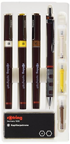 Rotring Rapidograph Technical Drawing Pen Junior Set, 3 Pens with Line Widths of 0.25mm to 0.5mm, Brown (S0699480)