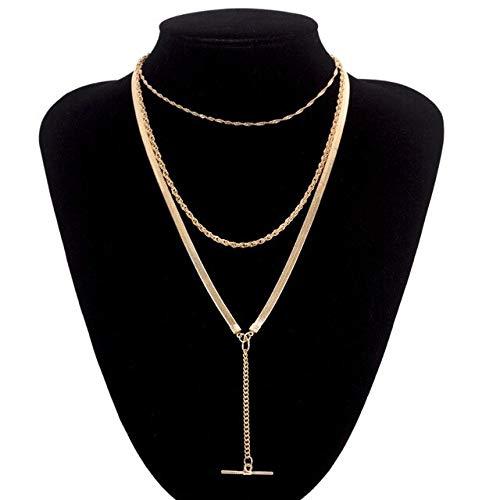 T Necklace - Fashion Gold/silver Pendant Women Necklaces Bar Link Long Chain Neckalce - Gold-1 ()