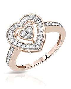 Rose Gold 0.35 CTW Color H-J, I2 Diamond Heart Women Ring. Ring Size 6.5. Total Item weight 2.7 g.
