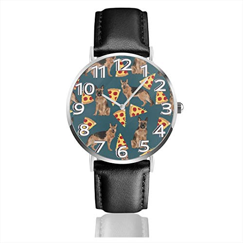Unisex Wrist Watches Pizza And Old German Shepherd Dog PU Leather Strap Fashion Watch For Men Women]()