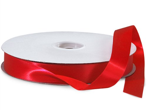 Red Double Faced Satin Ribbon 7/8''x100 yds 100% Polyester (2 Spools) - WRAPS-DFS5250 by Miller Supply Inc