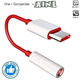 Aine Type C to 3.5mm Splitter Stereo Audio Jack Converter Adapter Headphones Jack for OnePlus and Type C Devices (Red & White) (Earphone's Volume Up Down Keys, Mic Not Supportable)