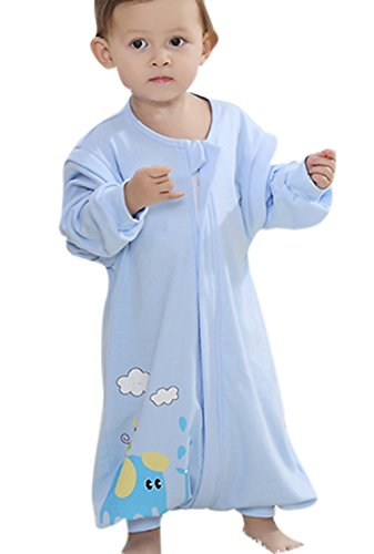 Nine States Baby Sleep Sack Cotton Wearable Blanket,Sleep Sack with Feet,Detachable Long Sleeves,Blue,Small