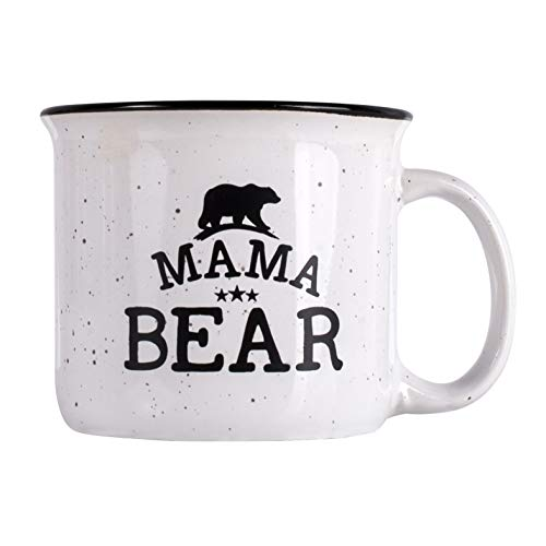 Mother's Day Gifts - Mama Bear Campfire Ceramic Mug - White - 15 oz, Retro Coffee Mug for Dad Gifts Tea Cup, Perfect Christmas Gift