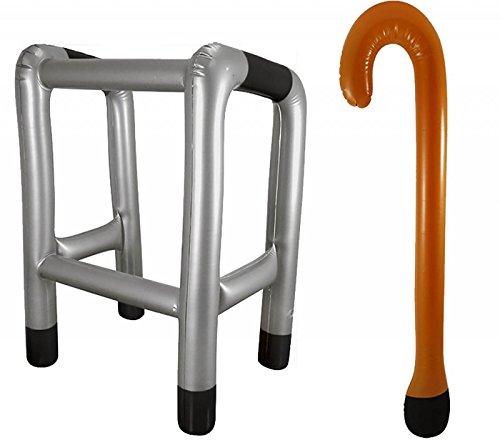 Rimi Hanger Inflatable Zimmer Frame & Walking Stick Blow Up Toy Novelty Dress Up Accessory Frame+Stick One Size