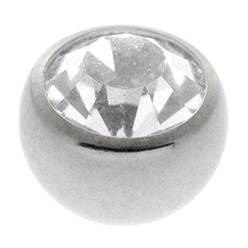 Steel Threaded Jewelled Balls - Clear 1.2 x 2.5mm ()
