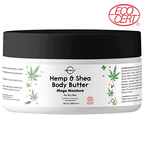 O Naturals Shea Body Butter w/Hemp Seed Oil Moisturizes, Hydrates Dry Skin, Eczema Cream. Stress, Tension, Body, Neck Muscle Relief. Reduce Stretch Marks. Antioxidant w/Rosehip Oil, Aloe Vera. 8.5oz (Best Natural Body Butter)