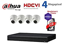 Dahua 4MP Tribrid Security Package: 8CH 4MP Tribrid HCVR7108H-4M DVR (CVI and IP and Analog ) w/2TB Security Hard Drive + (4) 4MP Outdoor HDCVI IR 2.8mm Eyeball Dome Camera (NO LOGO OEM Local Support)