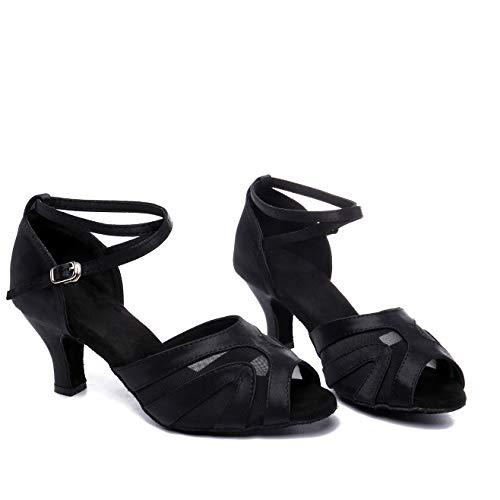 JZNX Professional Latin Dance Shoes Satin Salsa Dancer Shoes Ballroom Tango Dancing Shoes Z02 for Women with 2.4