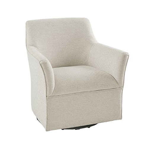 Madison Park MP103-0602 Augustine Swivel Glider Chair - Solid Wood, Plywood, Metal Base Accent Armchair Modern Classic Style Family Room Sofa Furniture, Cream
