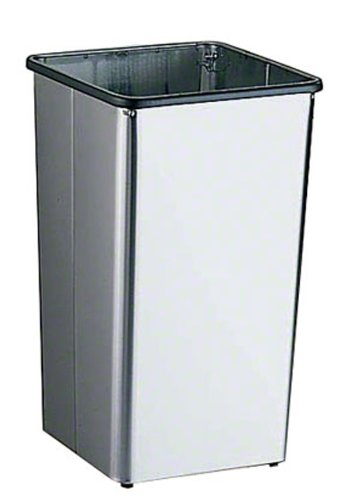 Bobrick 2260 Stainless Steel Floor-Standing Waste Receptacle with Open Top, Satin Finish, 13 Gallon Capacity, 12-1/2