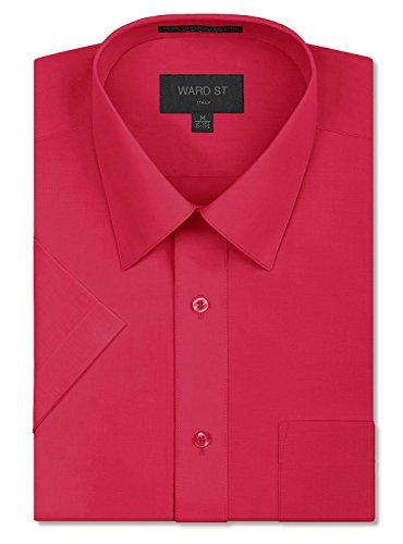 Ward St Men's Regular Fit Short Sleeve Dress Shirts, XL, 17-17.5N, Fuschia