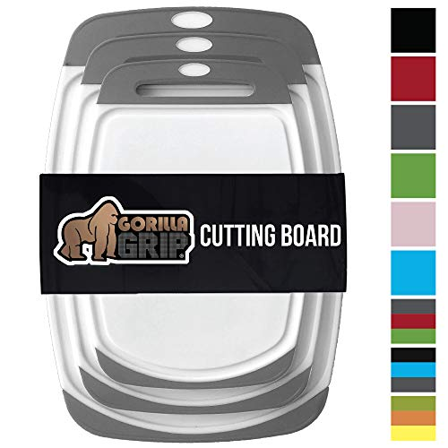 GORILLA GRIP Original Reversible Cutting Board (3-Piece), BPA Free, Dishwasher Safe, Juice Grooves, Larger Thicker Boards, Easy Grip Handle, Non-Porous, Extra Large, Kitchen (Set of Three: Gray) by Gorilla Grip (Image #8)