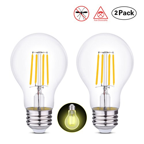 Repellent Light Bulb Yellow Bug (HOLA LED Bug Light Bulbs Mosquito Repellent Light, Pest Control Light No Blue Light, 4W Vintage LED Filament Decorative Lights for Home Indoor Outdoor, Baby Safe, Amber Yellow Light, E26, 2 Pack)