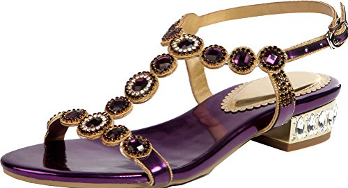 Abby ZXL004 Womens Comfort Wedding Bride Bridesmaid Party Prom Ankle Strap Flat Block Heel PU Sandals Purple 0ltWOx