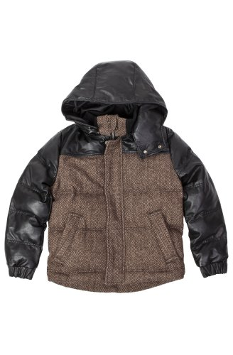 United Face Kids Lambskin Leather Hooded Herringbone Parka X-Large Black (United Face Down Jacket compare prices)