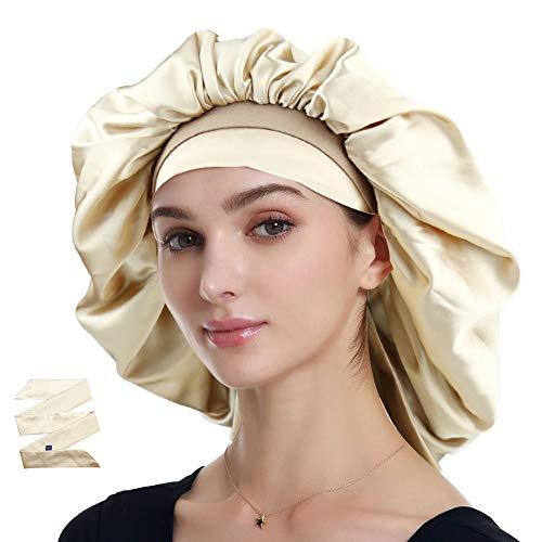 Satin Bonnet for Natural Hair Curly Hair Braids Champagne ()