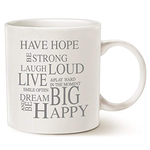 MAUAG Funny Inspirational Coffee Mug Christmas Gifts - Have Hope Be Strong Typography Motivational Quote Ceramic Cup White, 14 Oz by LaTazas