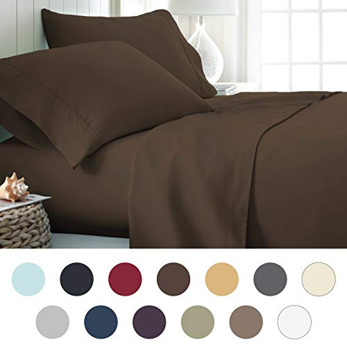 ienjoy Home Hotel Collection Luxury Soft Brushed Bed Sheet Set, Hypoallergenic, Deep Pocket, Queen, Chocolate by ienjoy Home