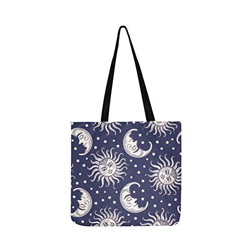 Tribal Ethnic Moon Su Stars Pattern Canvas Tote Handbag Shoulder Bag Crossbody Bags Purses For Men And Women Shopping Tote