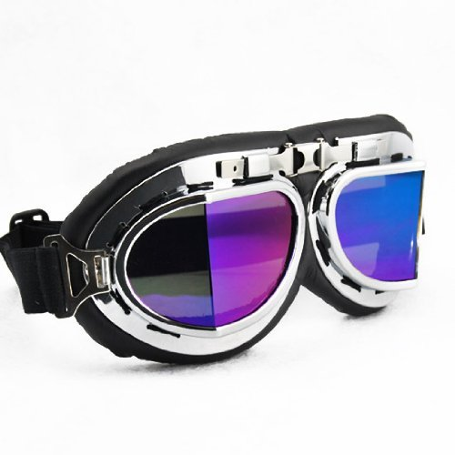 Raf Aviator Costume (Retro Style Military WWII RAF Aviator Pilot Chrome Plated Frame Dazzling Reflective Rainbow Color All Angle Spit Lens Elastic Strap Padded Frost Free Unisex Men Women UV Goggles For Outdoor Biking Trekking Skiing Snowboarding Ice Sledding Off Road Motorcross New)
