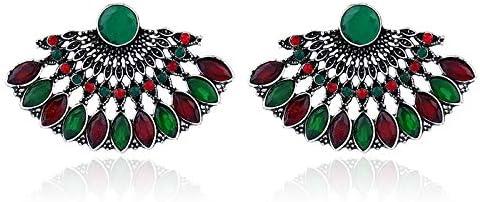 QYMX Pendientes para Mujer, Chapado en Plata Antigua con Forma de Abanico, Cuero de Pavo Real, Color Cristal, Pendientes de Diamantes de imitación para Mujer, Pendientes de Moda étnica