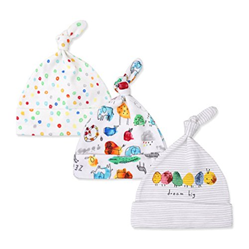 CuteOn 3 PCS Newborn Toddler Cotton Sleep Beanie Hat Adjustable Knot Hats for Unisex Baby 0-6 Months - Beanie 09
