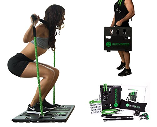 (BodyBoss Home Gym 2.0 - Full Portable Gym + Extra Set of Resistance Bands, Green)