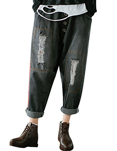 Jeans elastica in Pantaloni Crotch Drop Youlee fori Donna Nero vita con wZPq4fg