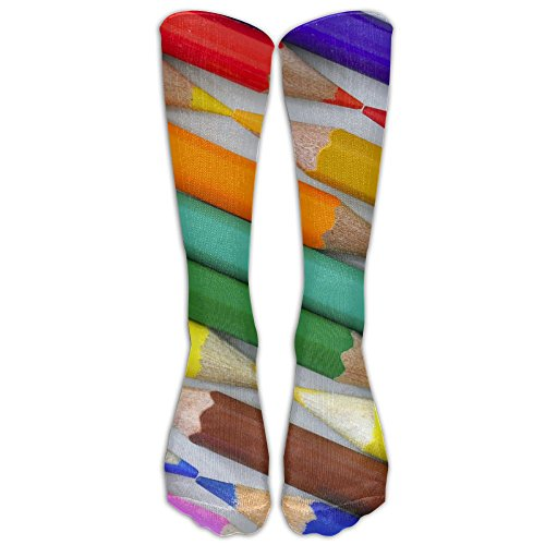 Rainbow Coloful Crayon Unisex Sports Socks Tube Socks Knee High Compression Sports Athletic Socks Tube Stockings Long Socks