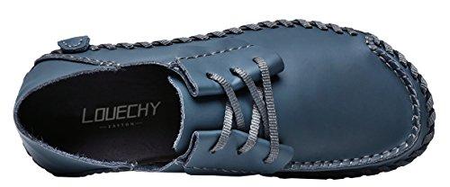 LOUECHY Männer Achikle Breite Freizeitschuhe Wohnungen Wanderschuhe Weiche Leder Loafers Lace-Up Fahr Schuhe Marine