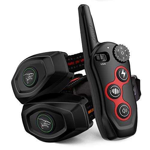 2 In 1 Dog Training Collar & Dog Bark Collar – Rechargeable Dog Remote Shock Collar w/3 Training Modes, Beep, Vibration…