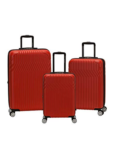 (Rockland Pista 3 Piece Abs Non-Expandable Luggage Set, Red)