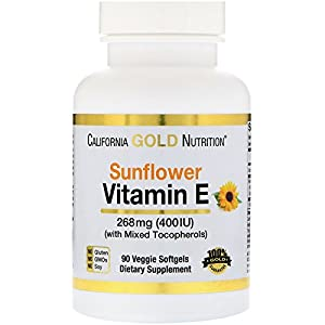 California Gold Nutrition, Vitamin E from Sunflower, Non-GMO, with Mixed Tocopherols, 400 IU,…