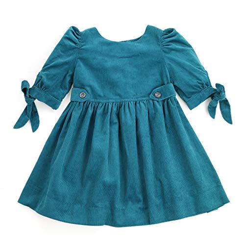 (THE SILLY SISSY - Toddlers and Girls Winter Thistle Tie-Sleeve Corduroy Dress (Teal Green, 5))