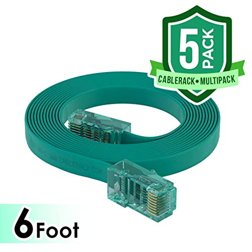 CableRack 6ft Rollover Console Cable RJ45 to RJ45 Male for Cisco 72-3383-01 Green (5-Pack)