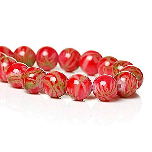 - 20 Pcs Mottled Glass Beads 8mm Coral Red Beads with Pale Tan Accents Pendant Jewelry Making Supplies Craft DIY Kit