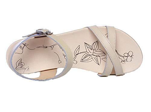 GMBLA013606 Sandales Bas d'orteil Ouverture Beige Talon à AgooLar Femme Y0fqO7