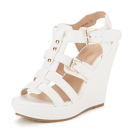 DREAM PAIRS RAVVENA Women's Summer Open Toe Strappy Buckle Cut-out Wedge Platform Heel Casual Sandals WHITE PU SZ 10