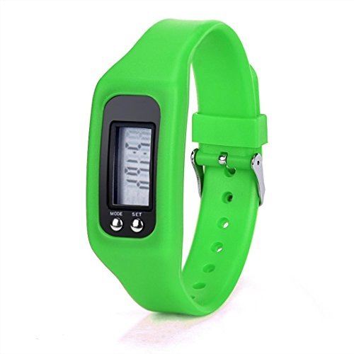 Perman Durable Digital LCD Pedometer Run Step Walking Distance Calorie Counter Watch Bracelet (HONHX Green)