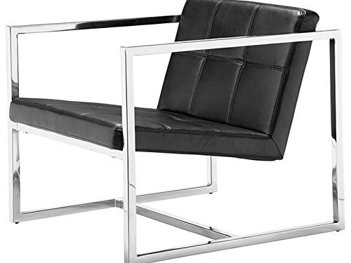 Campton Modern Contempororary Office Guest Chair in Black Leatherette - Lounge Furniture   Model LNGCHR - 339 ()