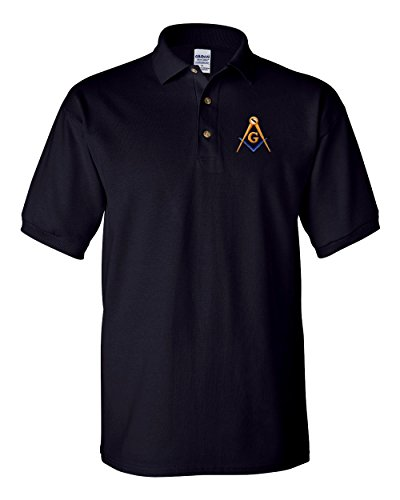 Mason Blue Lodge Polo Golf Shirt Square and Compass - Masonic Golf T-shirt