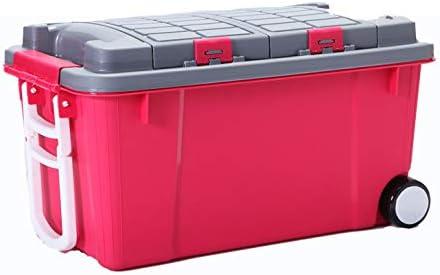 LHY SAVE Cajas almacenaje plastico Cajas organizadoras con Tapa y Rueda 2 Niveles Heavy Duty Contenedor organizadoras para el hogar, jardín, Garaje, Camping y Transporte,Rosado,55L: Amazon.es: Hogar