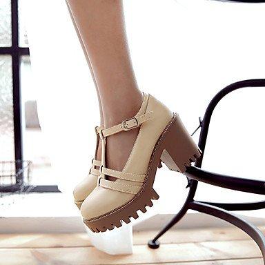 Zapatos de tacones de las mujeres Primavera Verano Otoño Comfort cuero sintético oficina y carrera Fiesta y Noche Casual hebilla de tacón grueso Negro Amarillo Gris Beige Beige