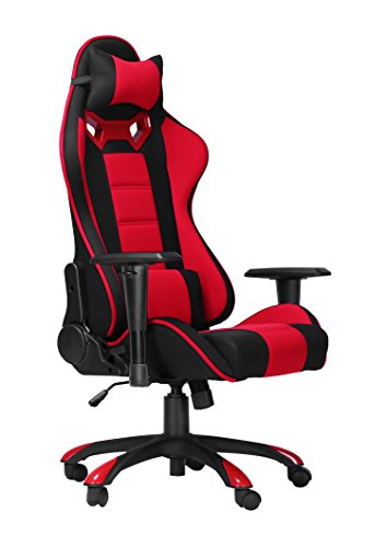 Racing Gaming Office Chair Swivel Computer Desk Seat High-Back Adjustment Computer Chair with Free Headrest Cushion and Lumbar Cushion by Jumei Furniture