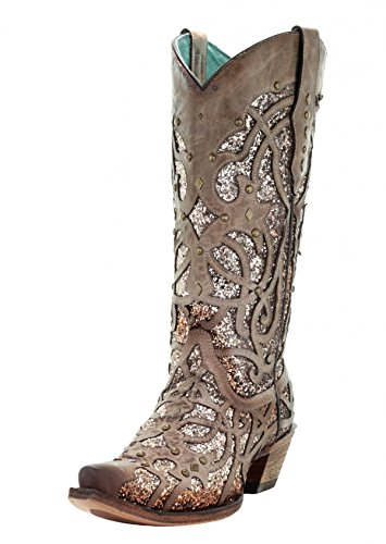 CORRAL Women's Orix Glitter Inlay and Studs Snip Toe Cowgirl Boots C3331 (9 B(M) US)