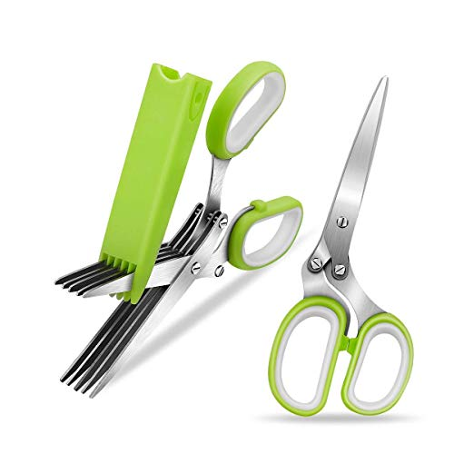Herb Scissors, Stainless Steel 5-Blade Multipurpose Kitchen Shear with Easy Cleaning Comb and Protective ()