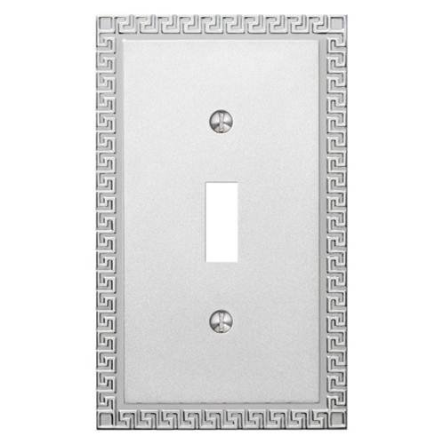 Amerelle Decor Collection Single Toggle Cast Metal Wallplate in Frosted Polished Chrome