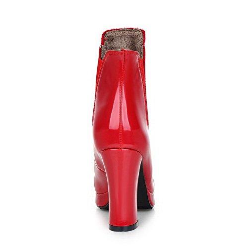 Allhqfashion Womens Ronde Gesloten Teen Pu Elastische Hoge Hakken Lage Laarzen Rood